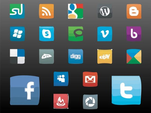 artistic social media icons style
