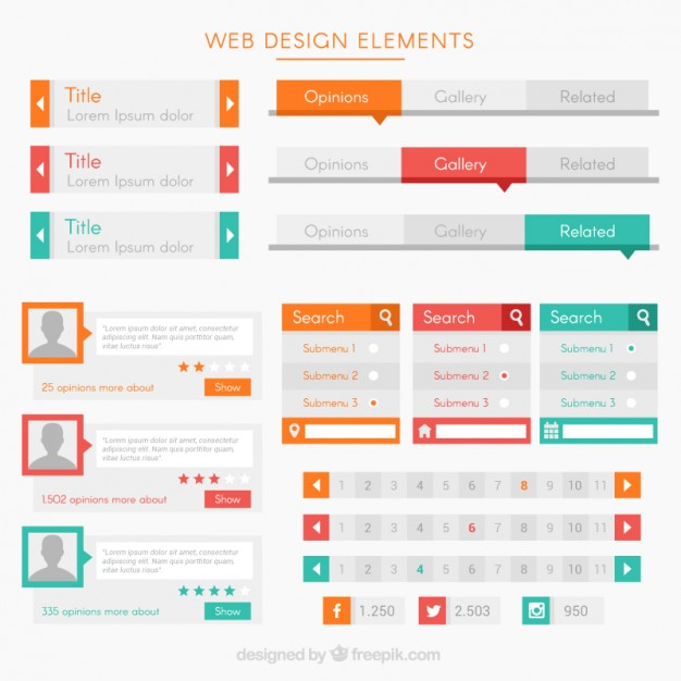 modern-elements-and-buttons-for-website