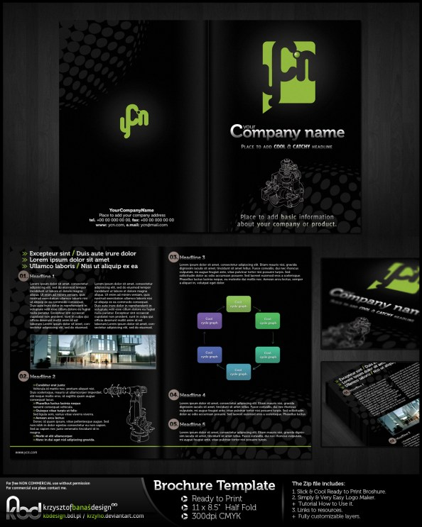 dark brochure template bi-fold