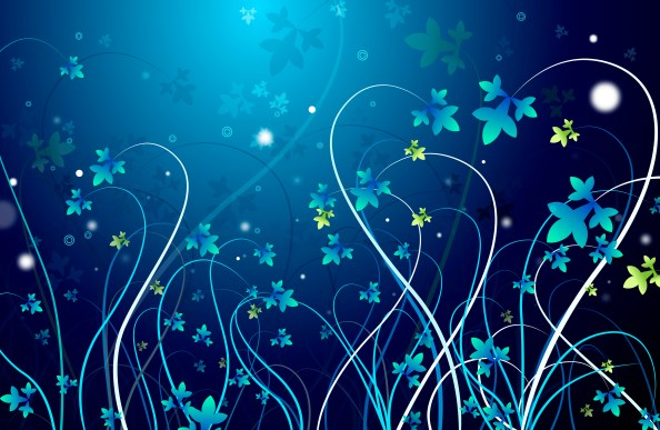 abstract flowers background dark blue