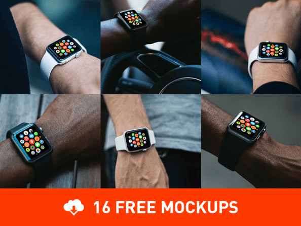 Free Photorealistic Apple Watch mockups