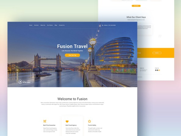 fusion travel web design template