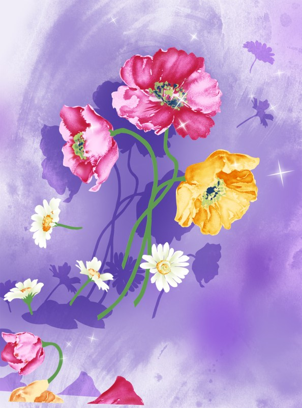watercolor background with flowers psd