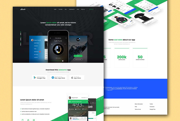 Free App Landing Page PSD Template