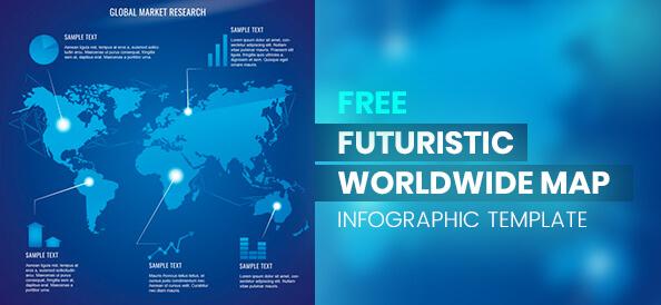 Free Futuristic Worldwide Map Infographic Template