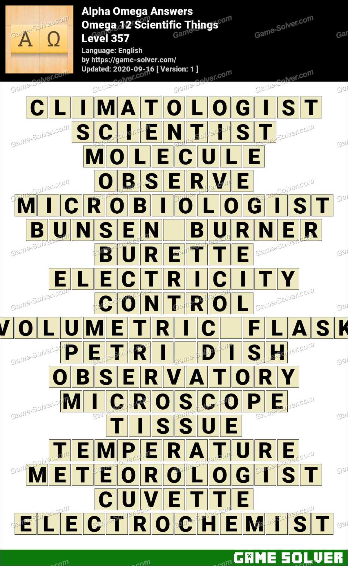 Alpha Omega Omega 12 Scientific Things