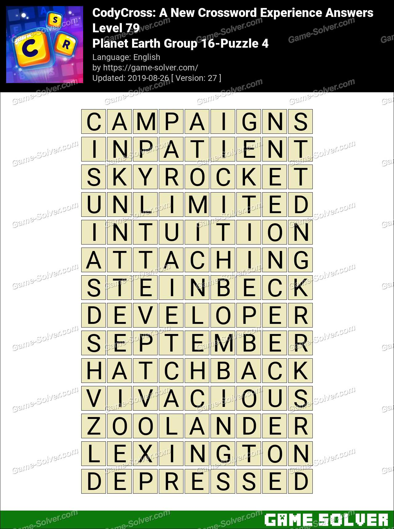 CodyCross Planet Earth Group 16-Puzzle 4 Answers - Game Solver
