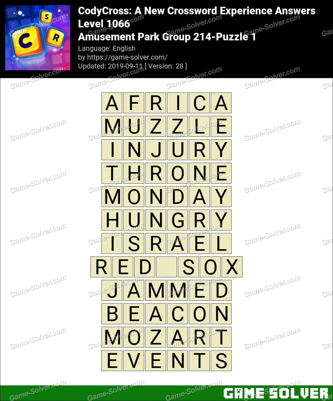CodyCross Amusement Park Group 214-Puzzle 1 Answers