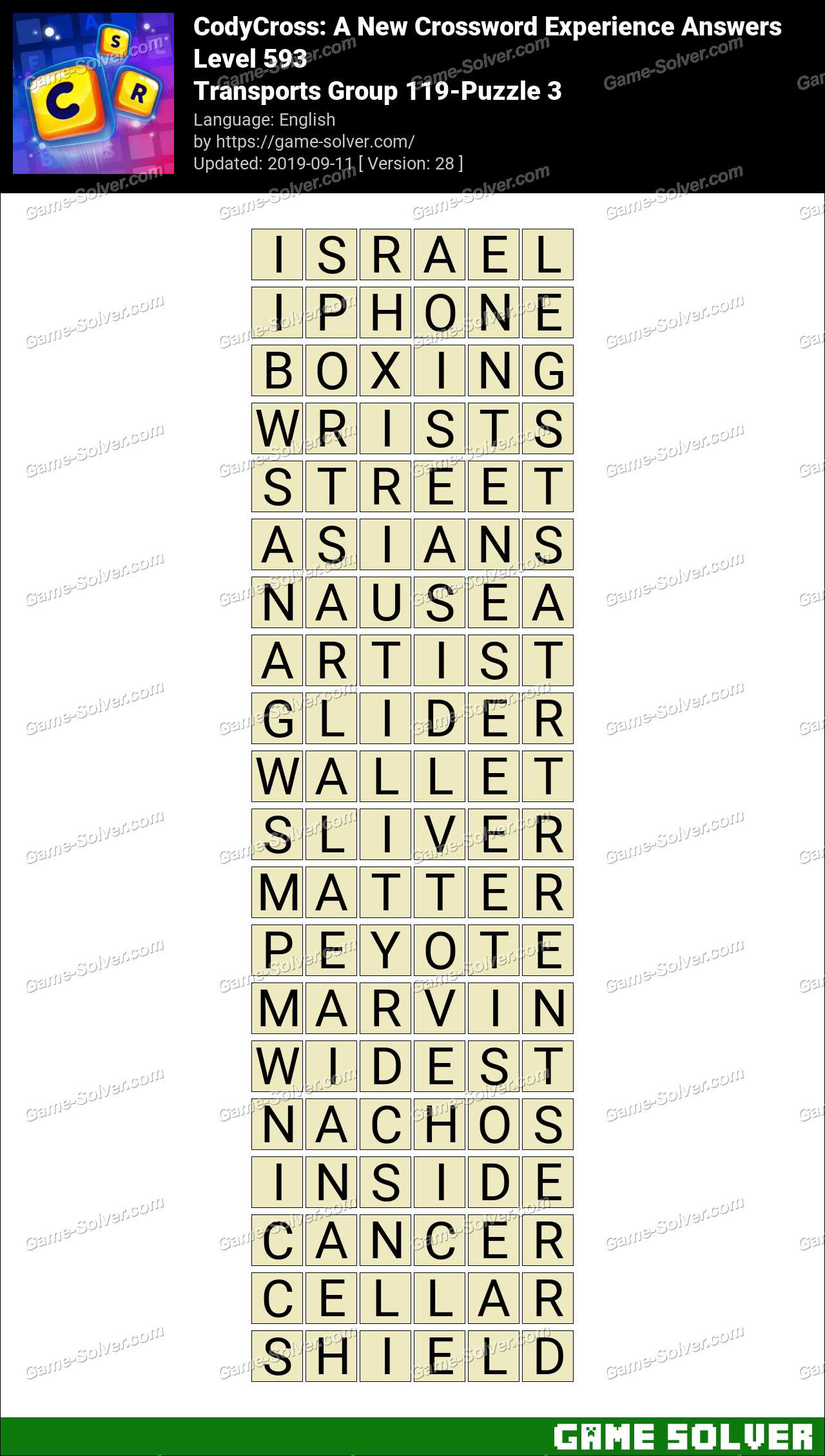 CodyCross Transports Group 119-Puzzle 3 Answers