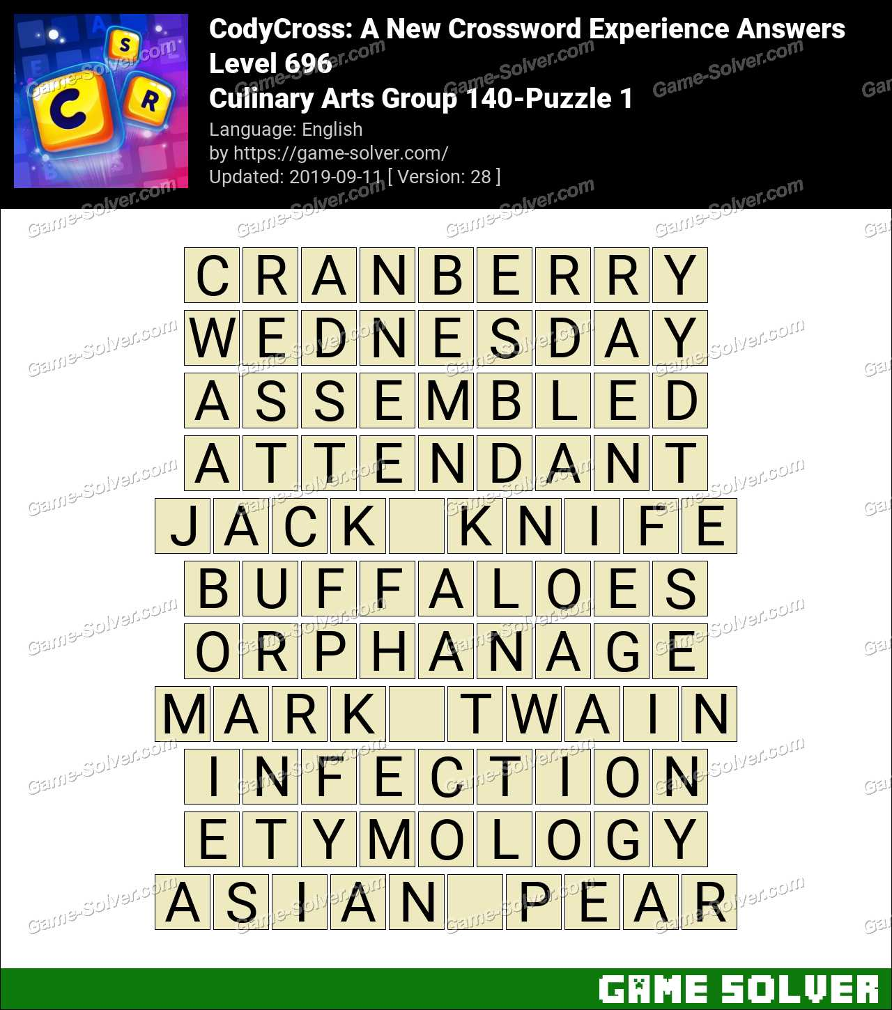 CodyCross Culinary Arts Group 140-Puzzle 1 Answers
