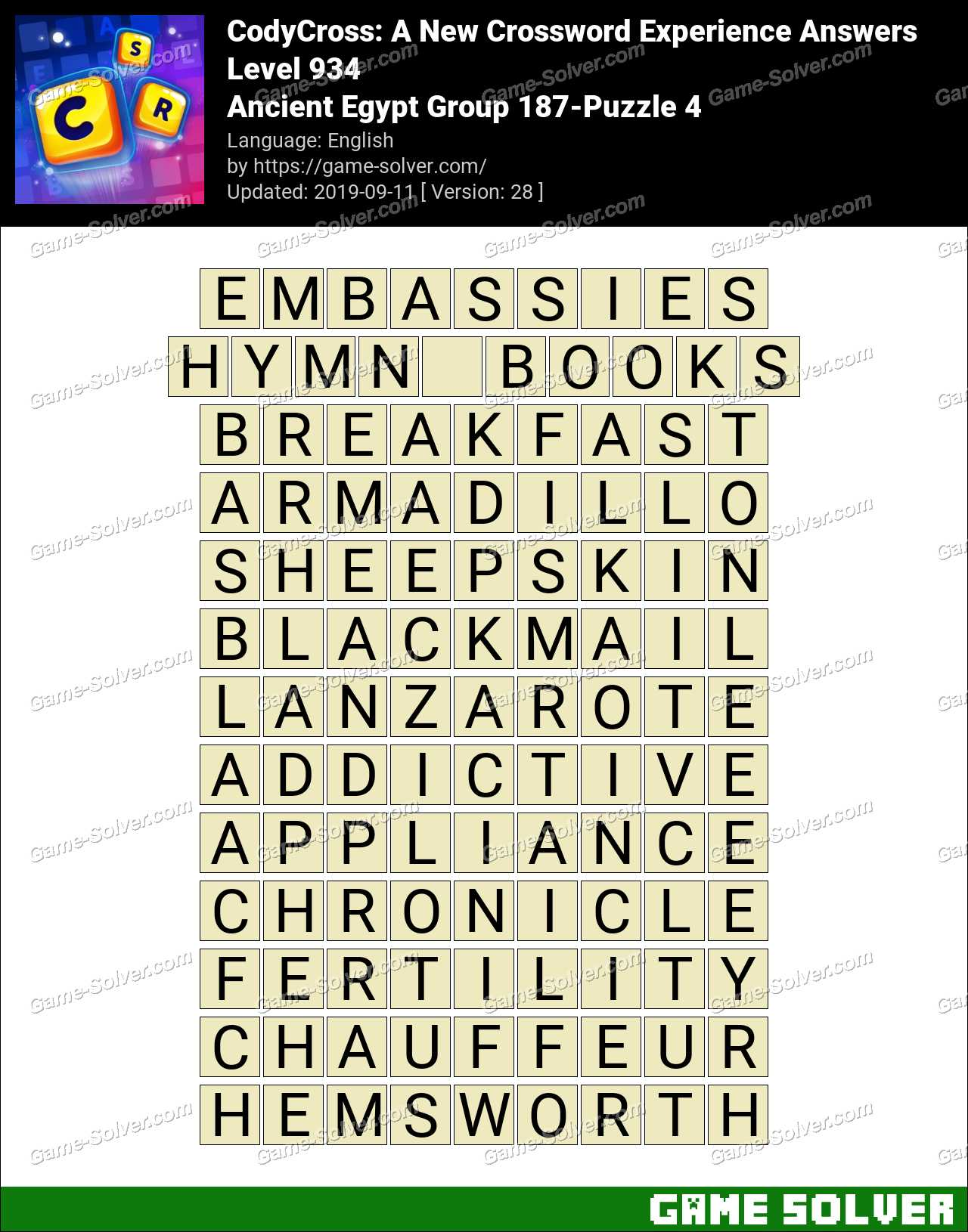 CodyCross Ancient Egypt Group 187-Puzzle 4 Answers