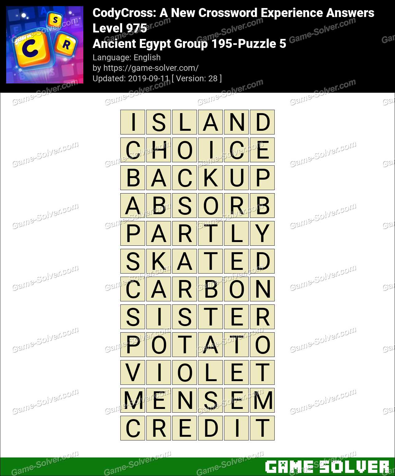 CodyCross Ancient Egypt Group 195-Puzzle 5 Answers