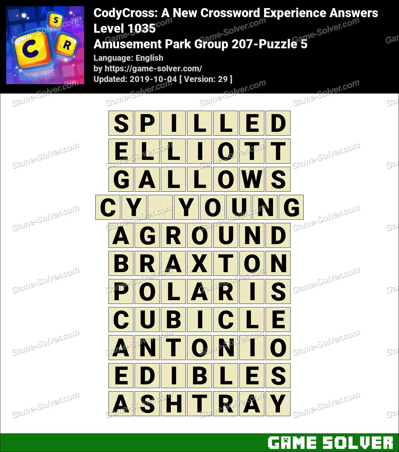 CodyCross Amusement Park Group 207-Puzzle 5 Answers