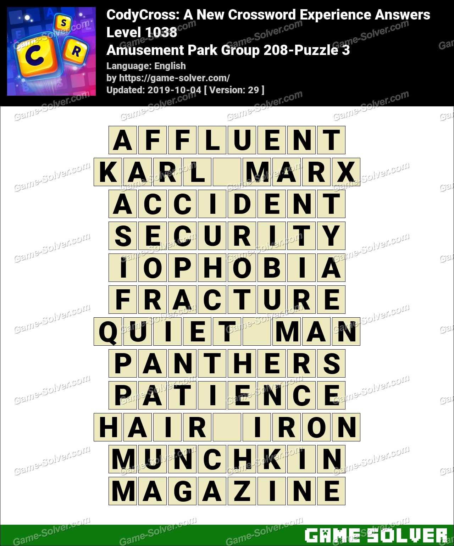 CodyCross Amusement Park Group 208-Puzzle 3 Answers