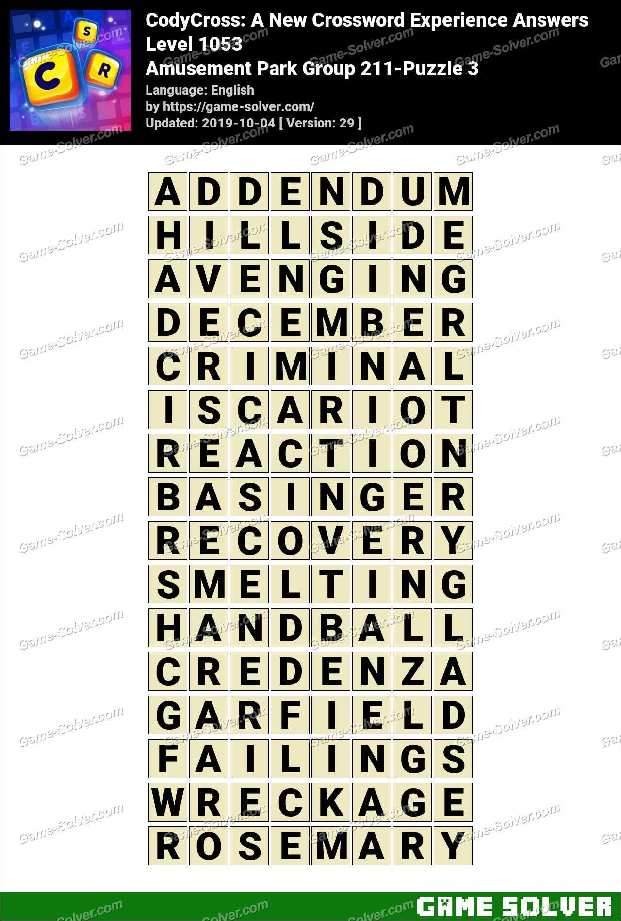 CodyCross Amusement Park Group 211-Puzzle 3 Answers