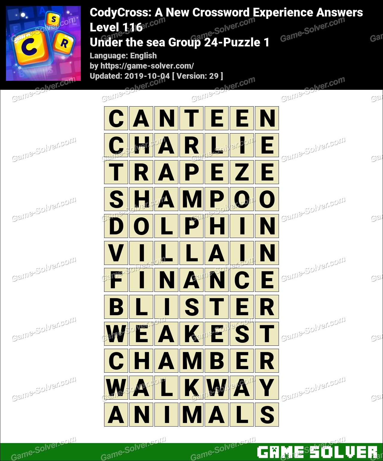 CodyCross Under the sea Group 24-Puzzle 1 Answers