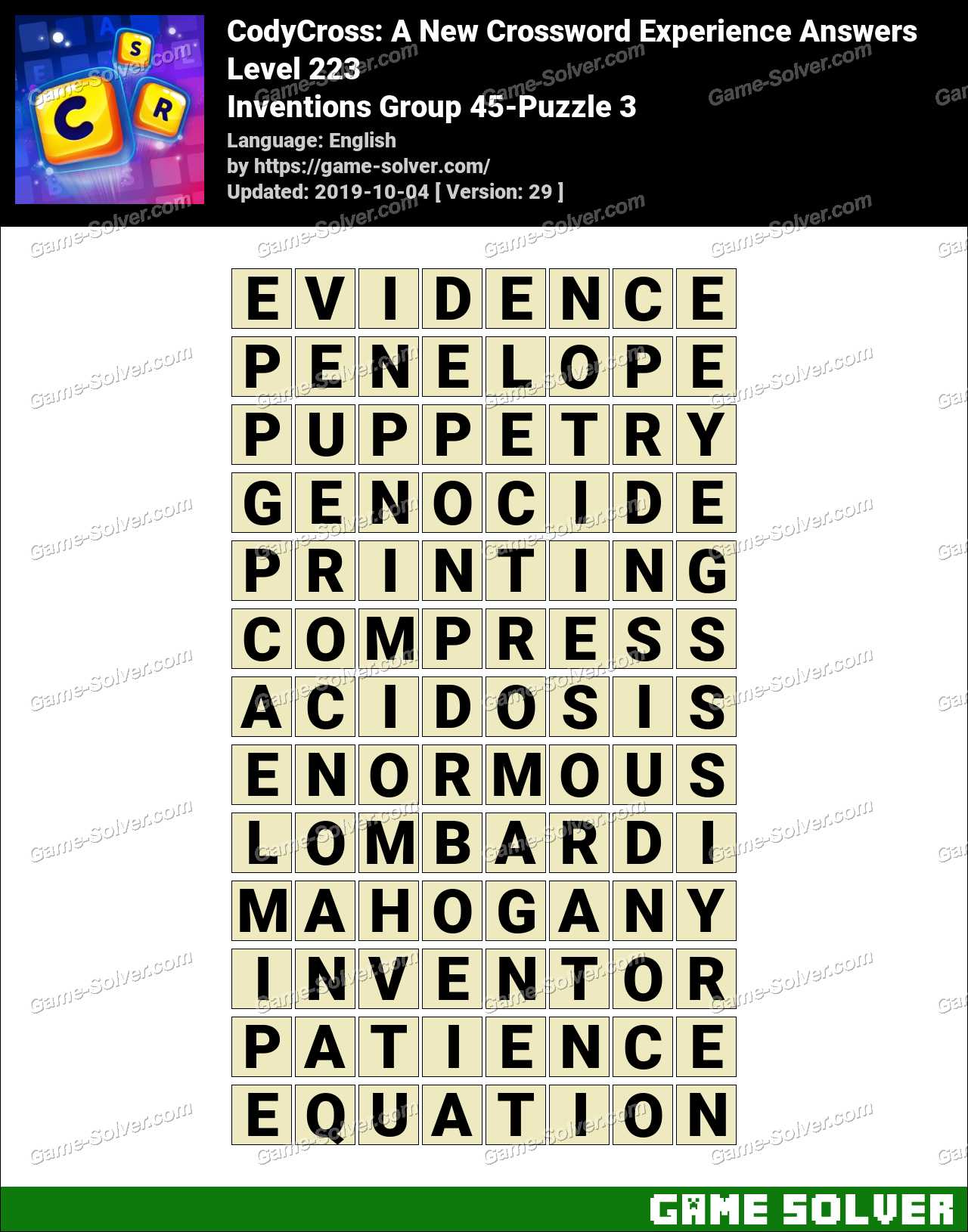 CodyCross Inventions Group 45-Puzzle 3 Answers