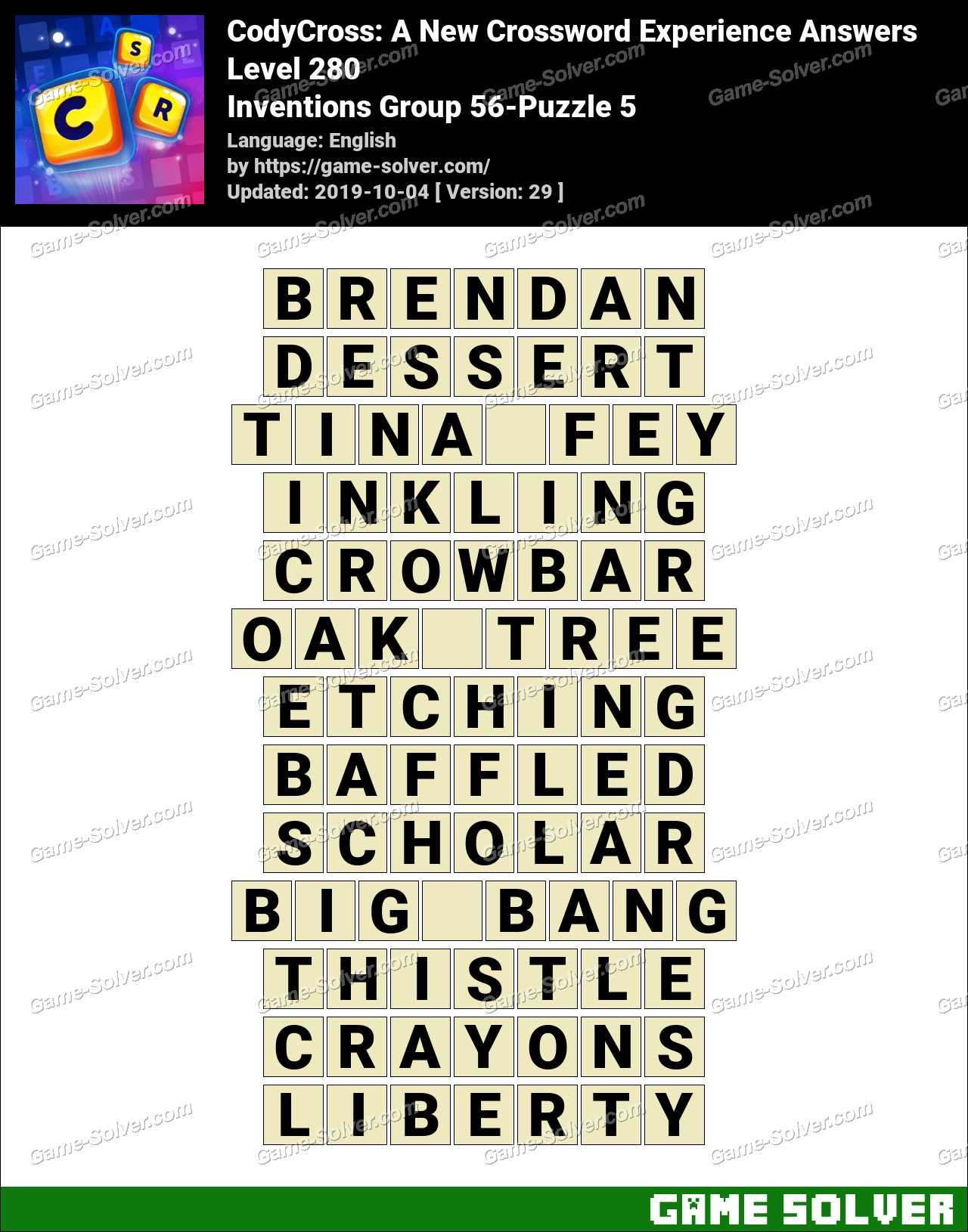 CodyCross Inventions Group 56-Puzzle 5 Answers