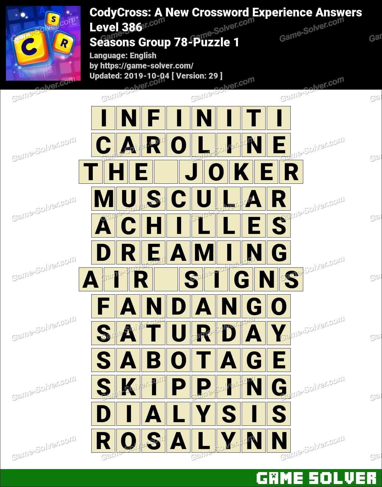 CodyCross Seasons Group 78-Puzzle 1 Answers