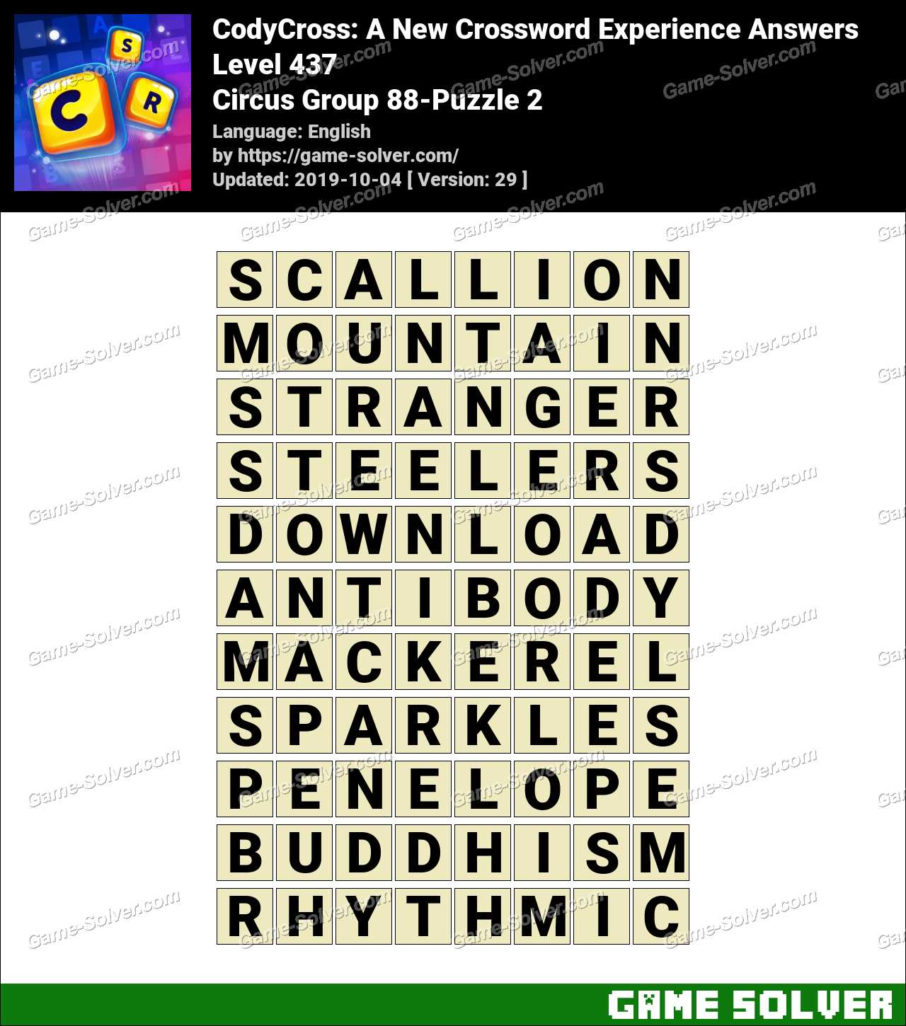 CodyCross Circus Group 88-Puzzle 2 Answers