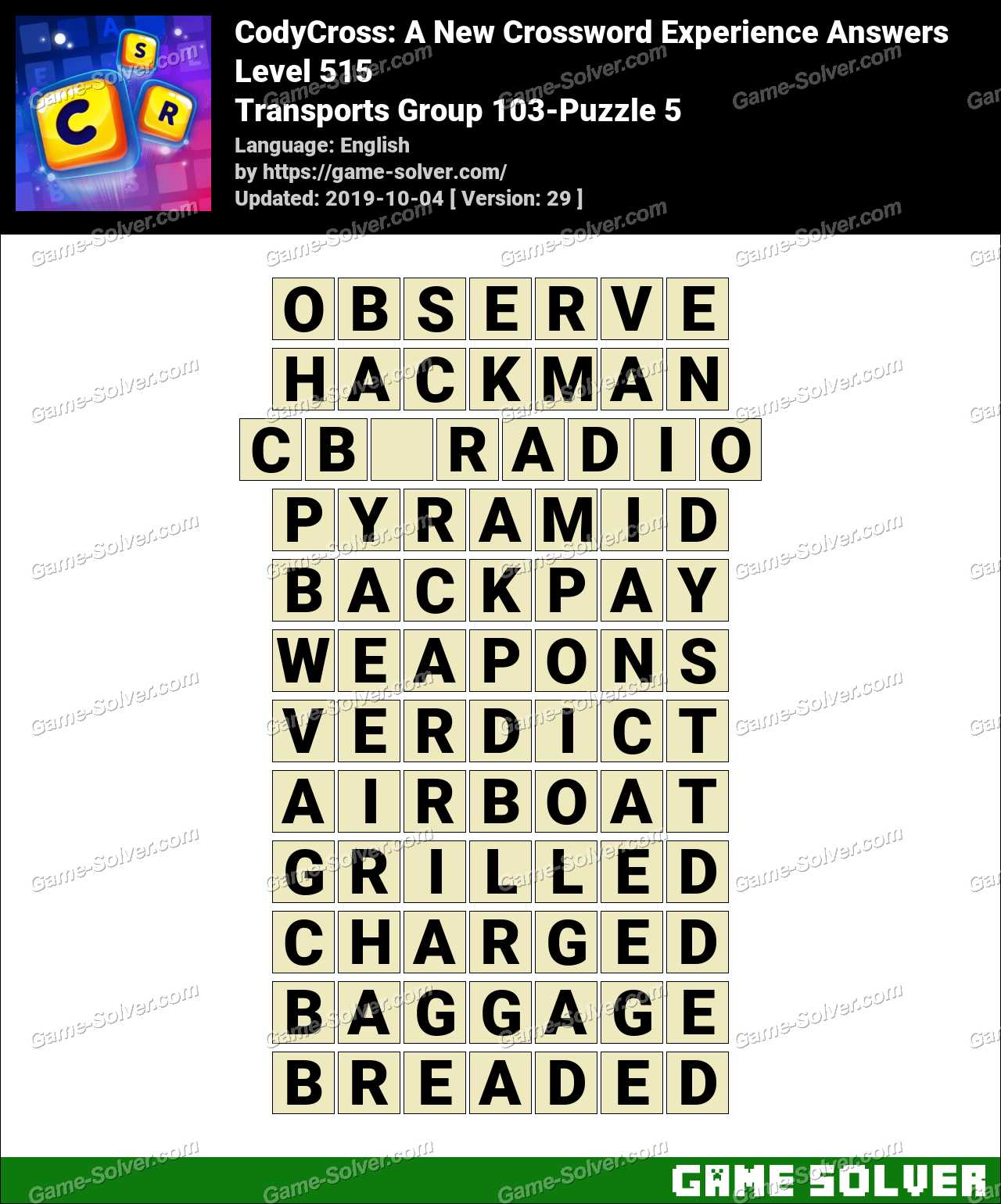 CodyCross Transports Group 103-Puzzle 5 Answers