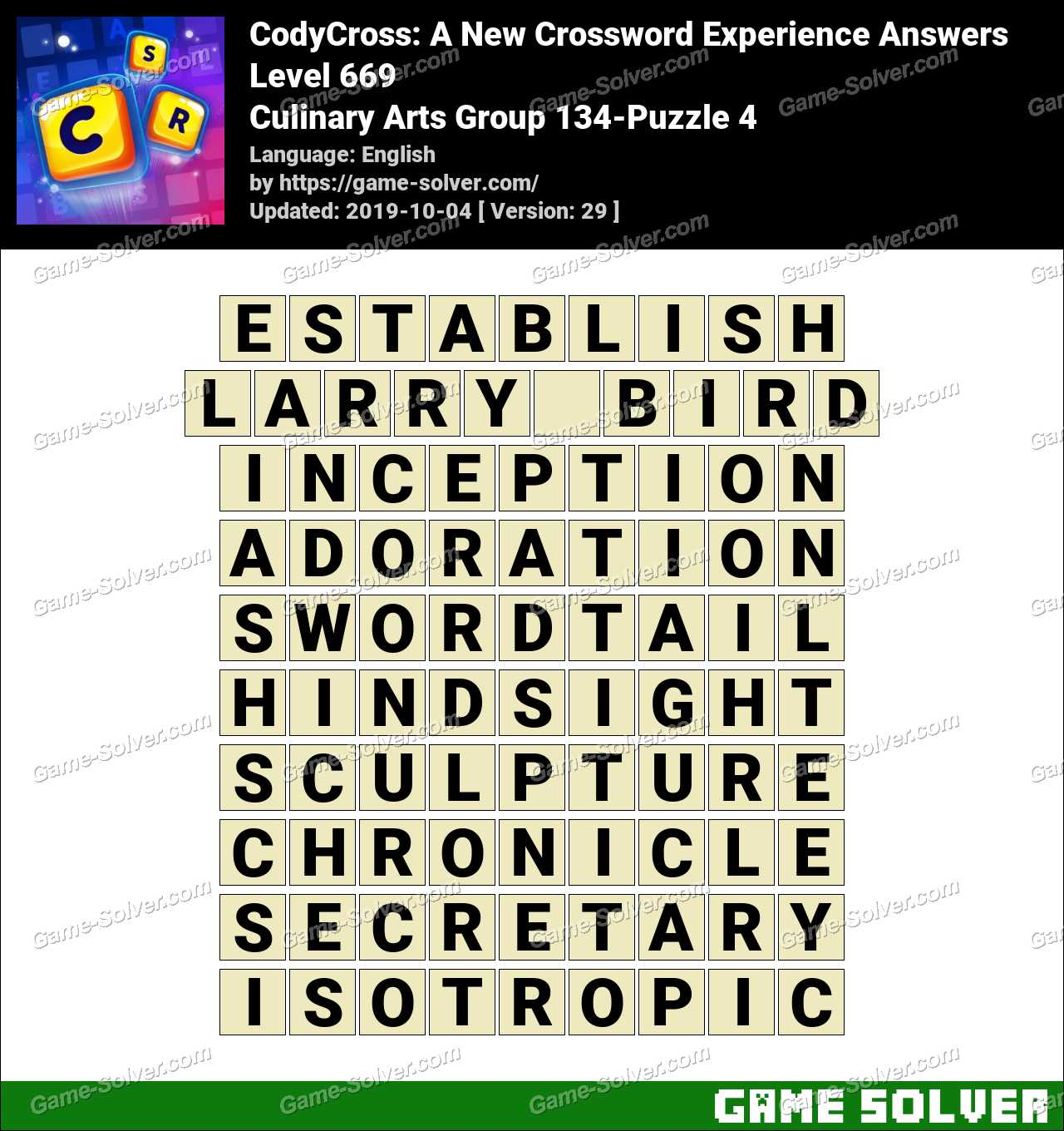 CodyCross Culinary Arts Group 134-Puzzle 4 Answers