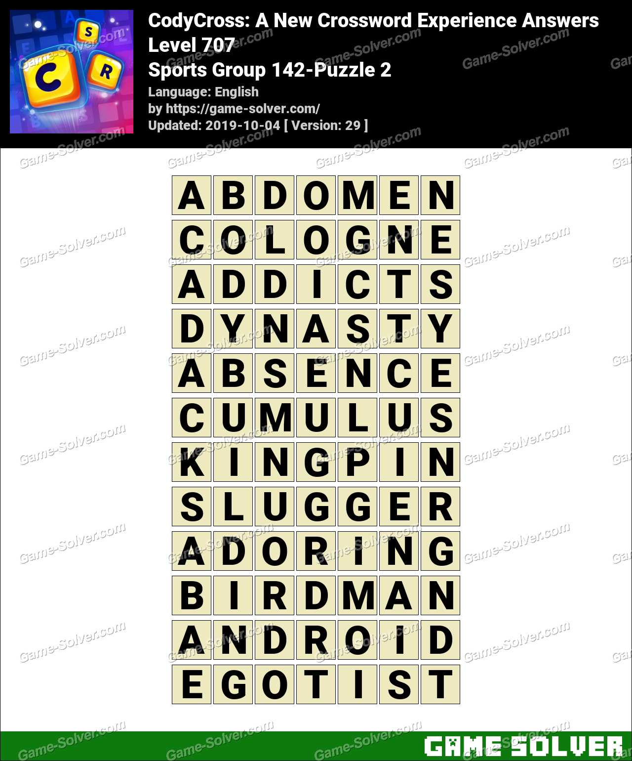 CodyCross Sports Group 142-Puzzle 2 Answers