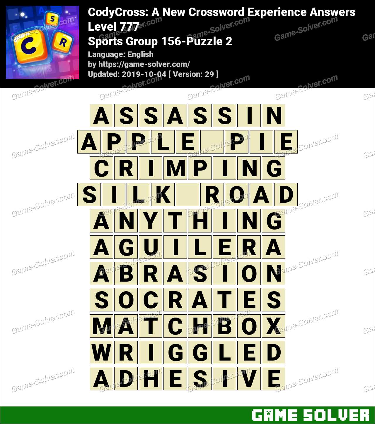 CodyCross Sports Group 156-Puzzle 2 Answers