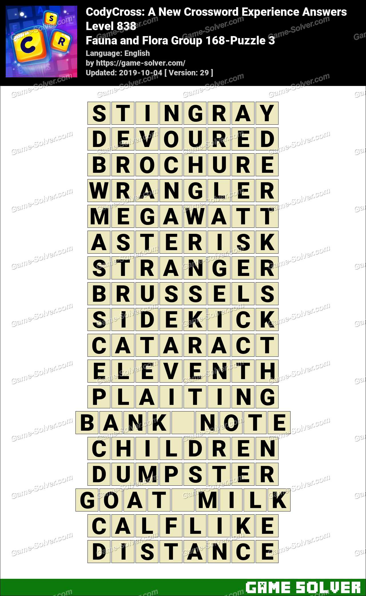 CodyCross Fauna and Flora Group 168-Puzzle 3 Answers