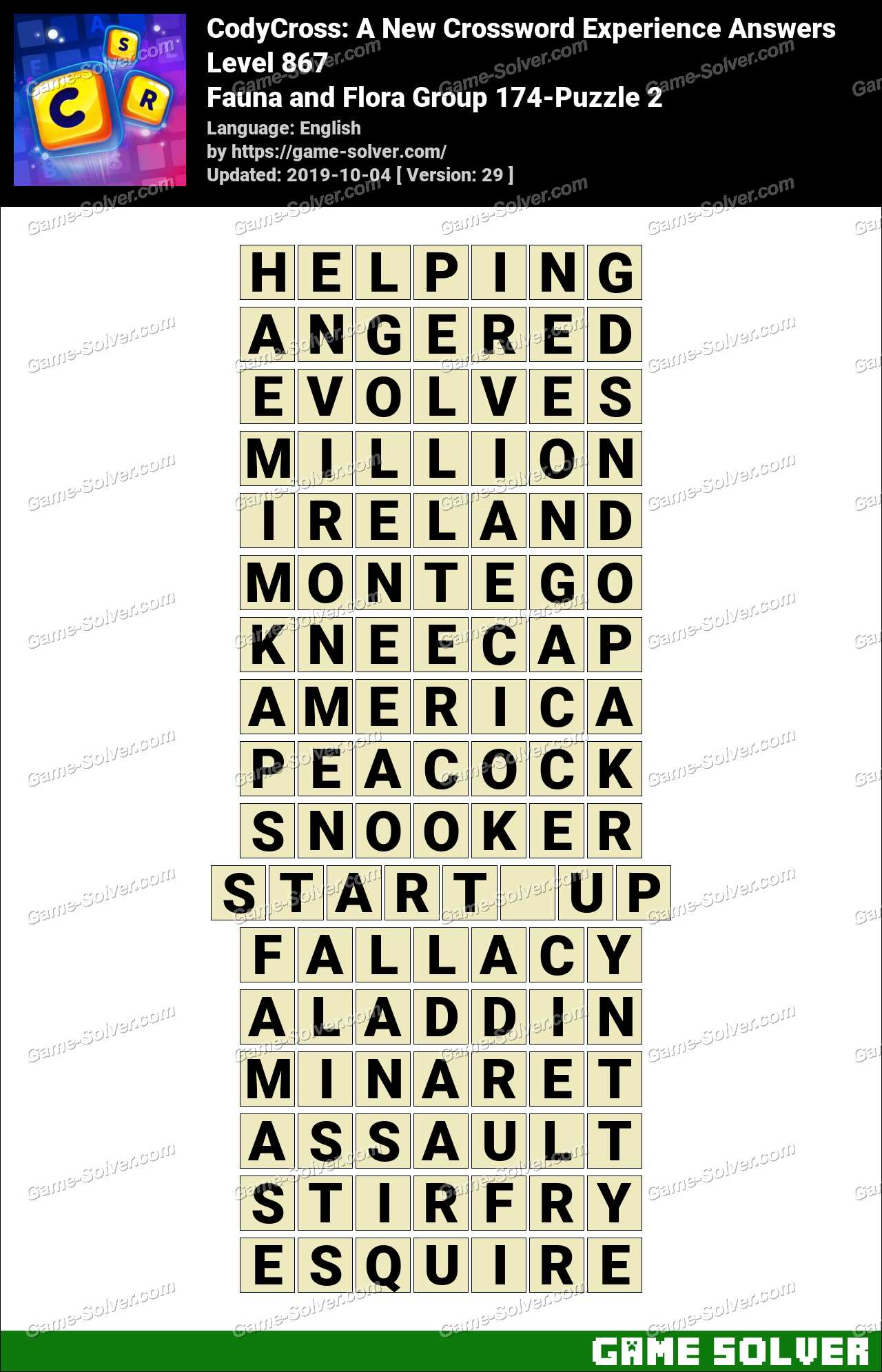CodyCross Fauna and Flora Group 174-Puzzle 2 Answers