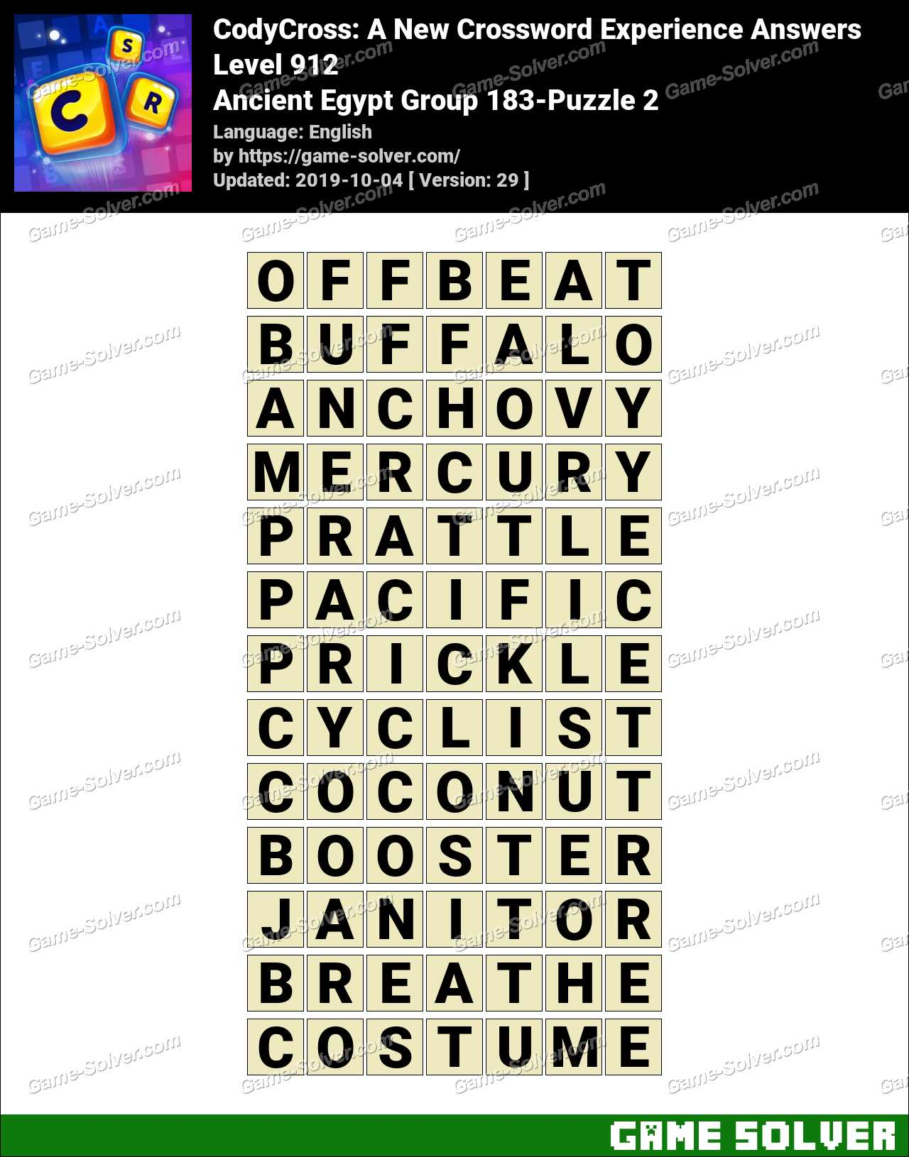 CodyCross Ancient Egypt Group 183-Puzzle 2 Answers