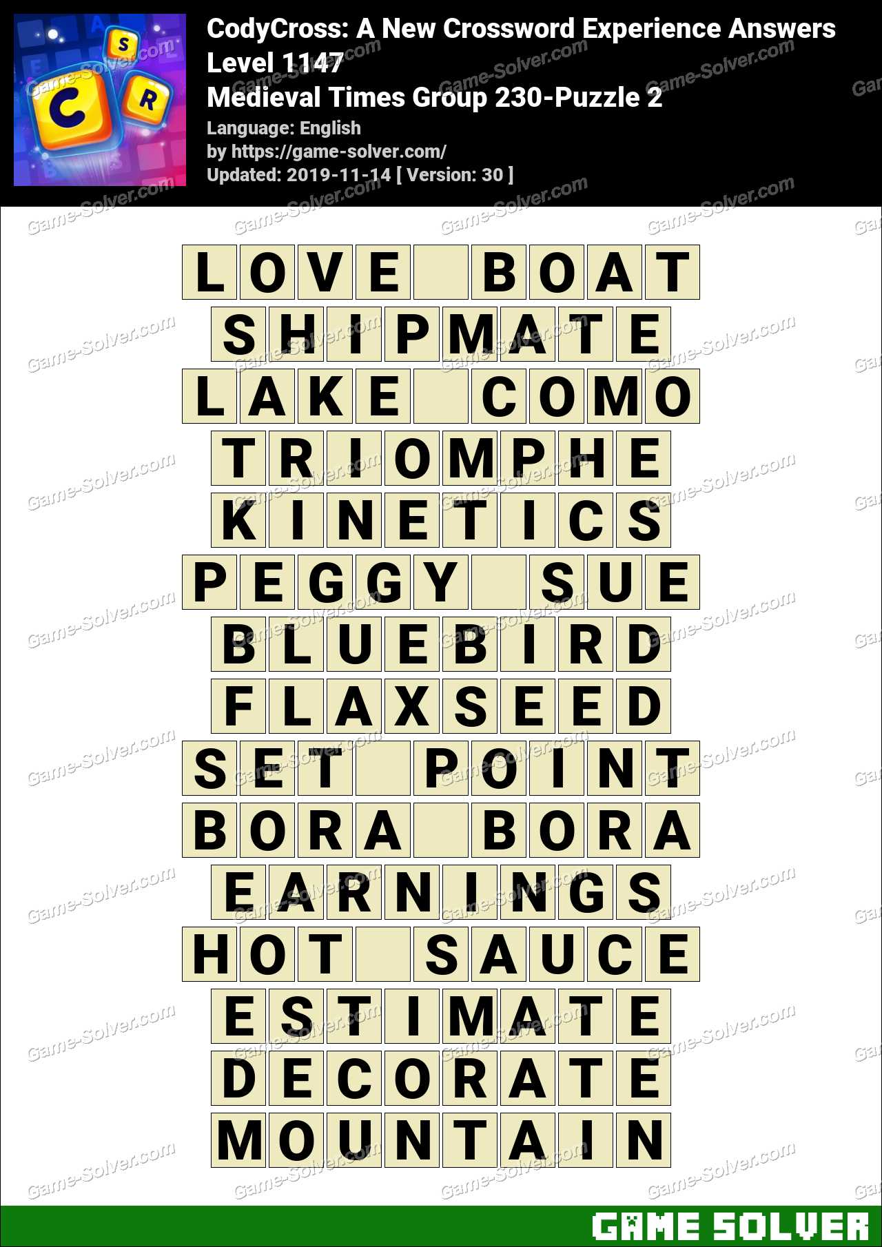 CodyCross Medieval Times Group 230-Puzzle 2 Answers