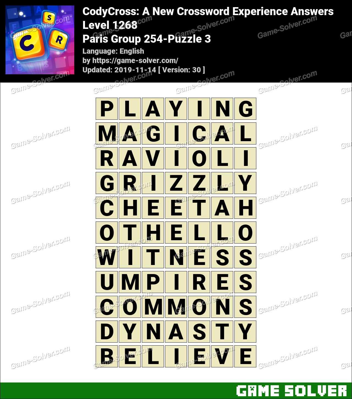 CodyCross Paris Group 254-Puzzle 3 Answers