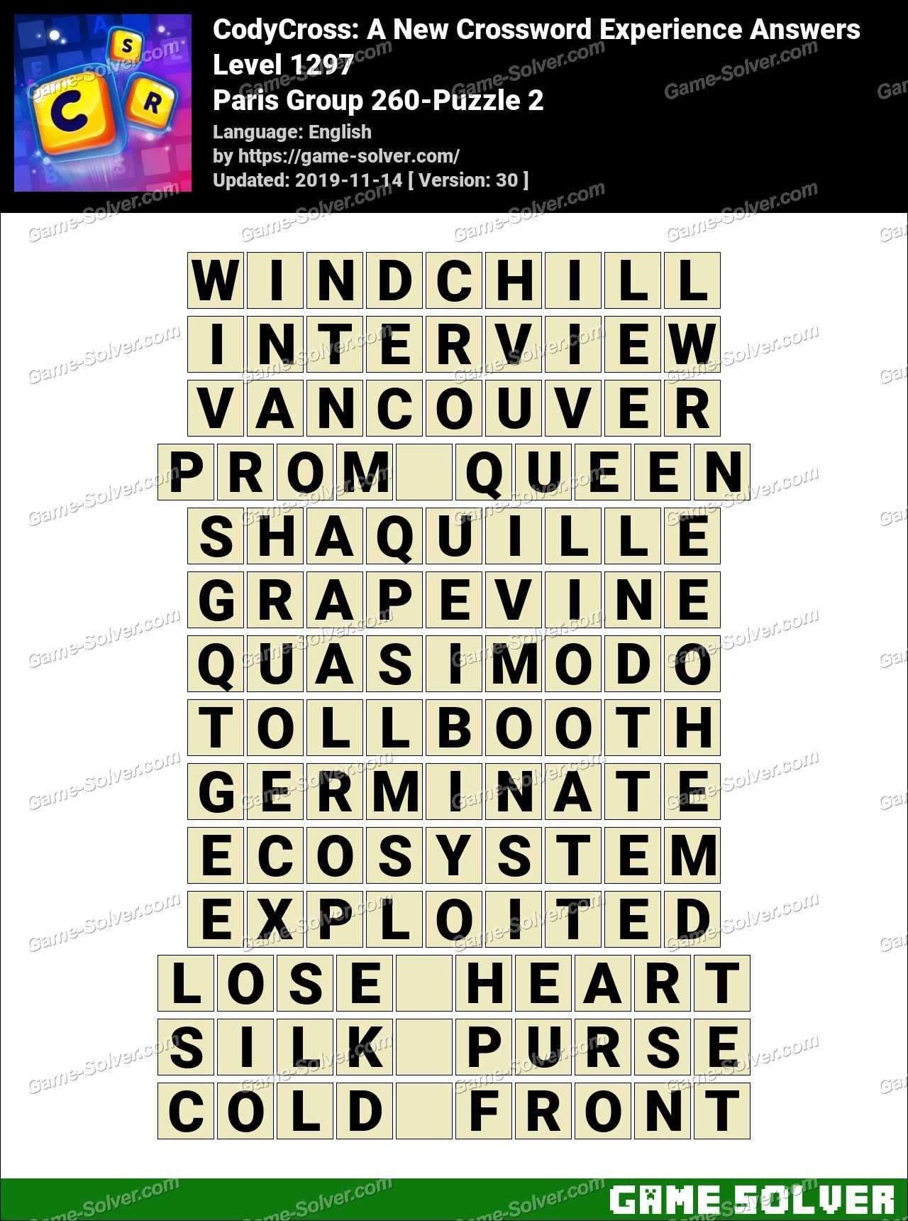 CodyCross Paris Group 260-Puzzle 2 Answers