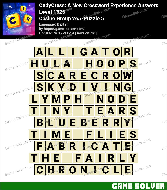 CodyCross Casino Group 265-Puzzle 5 Answers