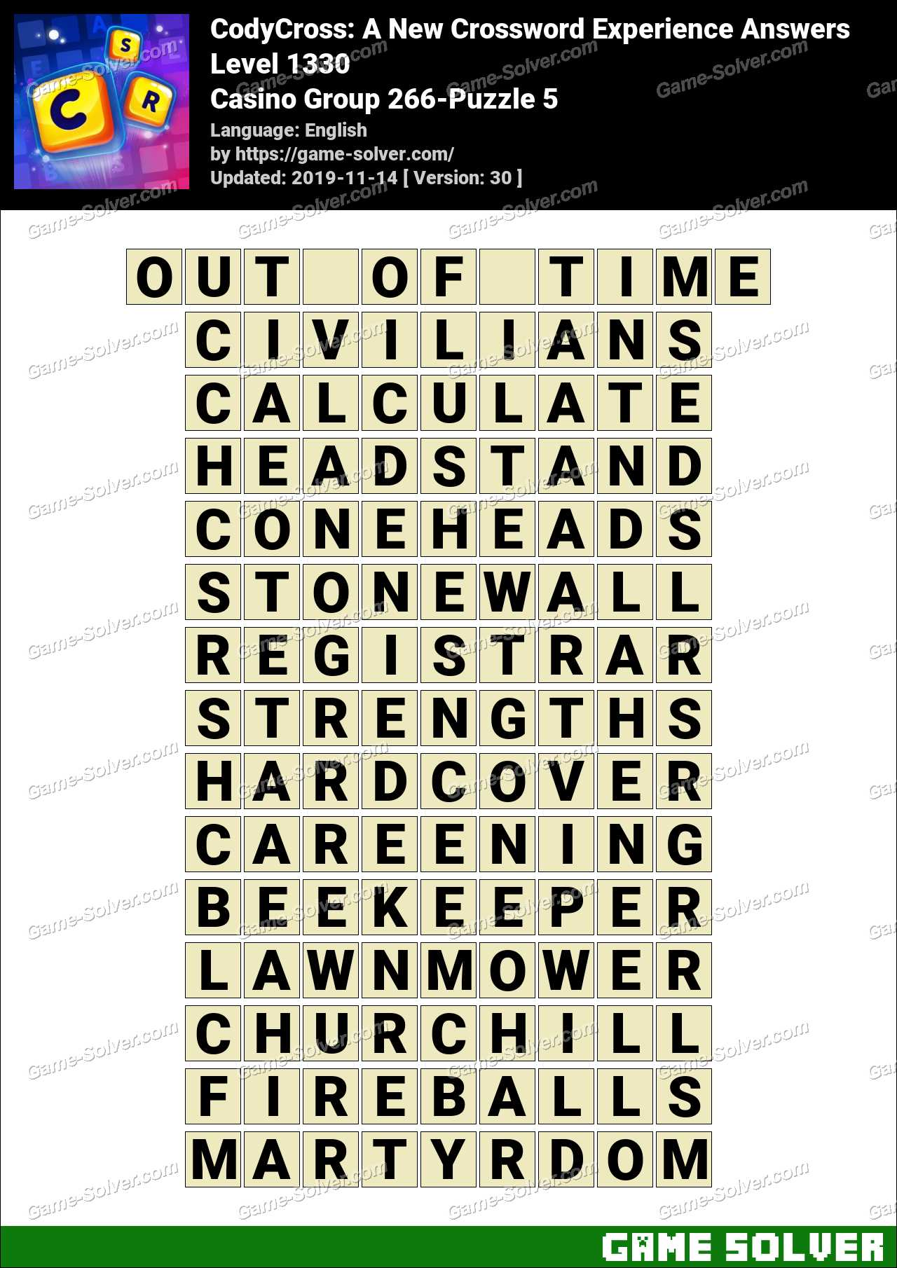 CodyCross Casino Group 266-Puzzle 5 Answers