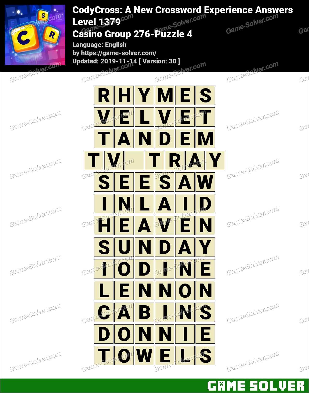CodyCross Casino Group 276-Puzzle 4 Answers