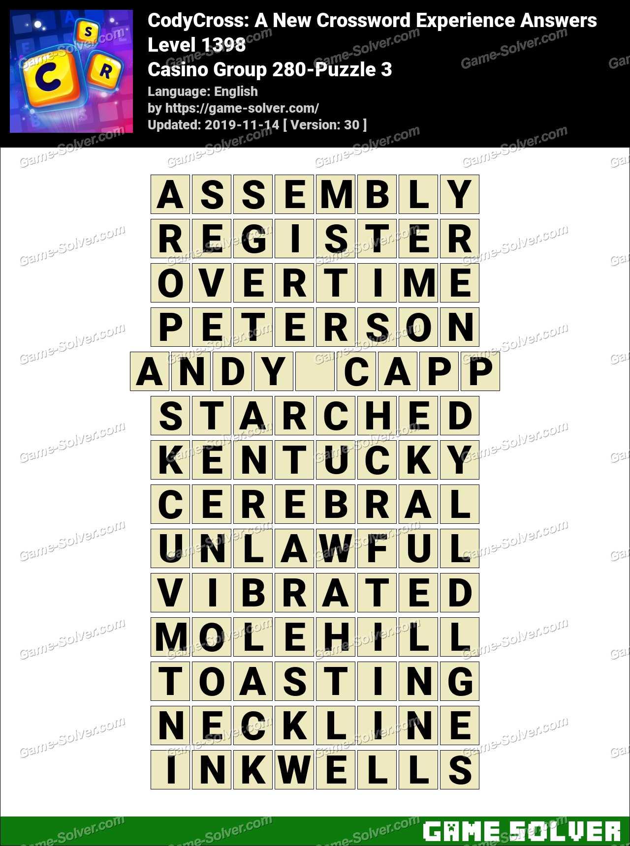 CodyCross Casino Group 280-Puzzle 3 Answers