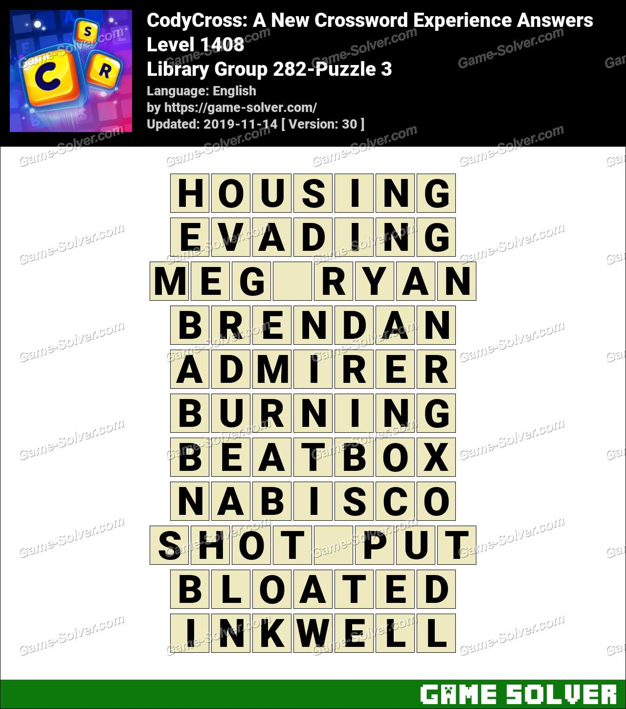 CodyCross Library Group 282-Puzzle 3 Answers