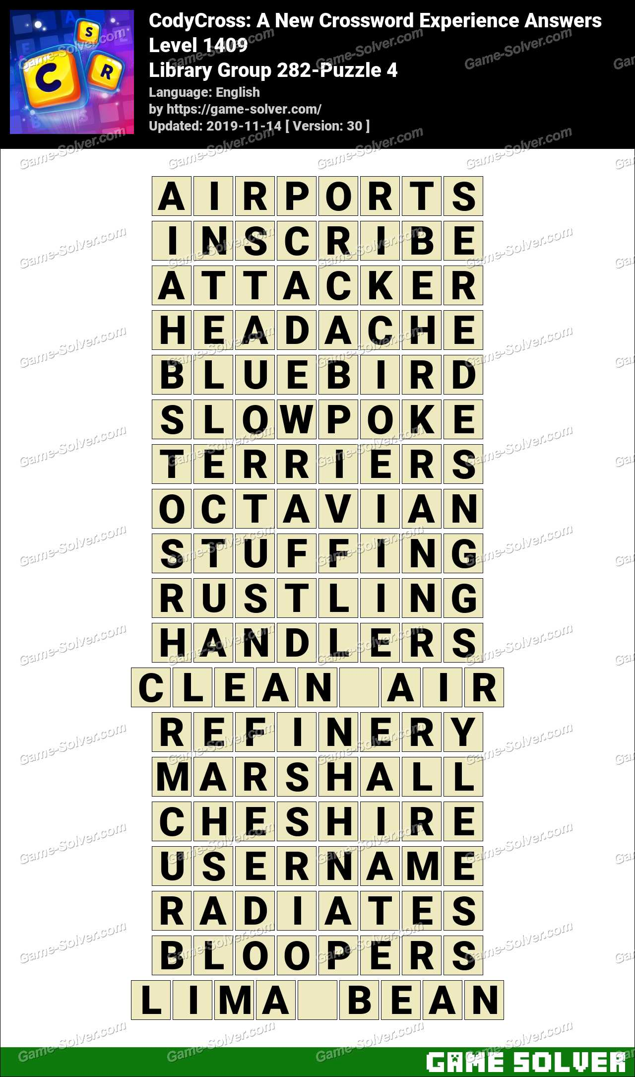 CodyCross Library Group 282-Puzzle 4 Answers