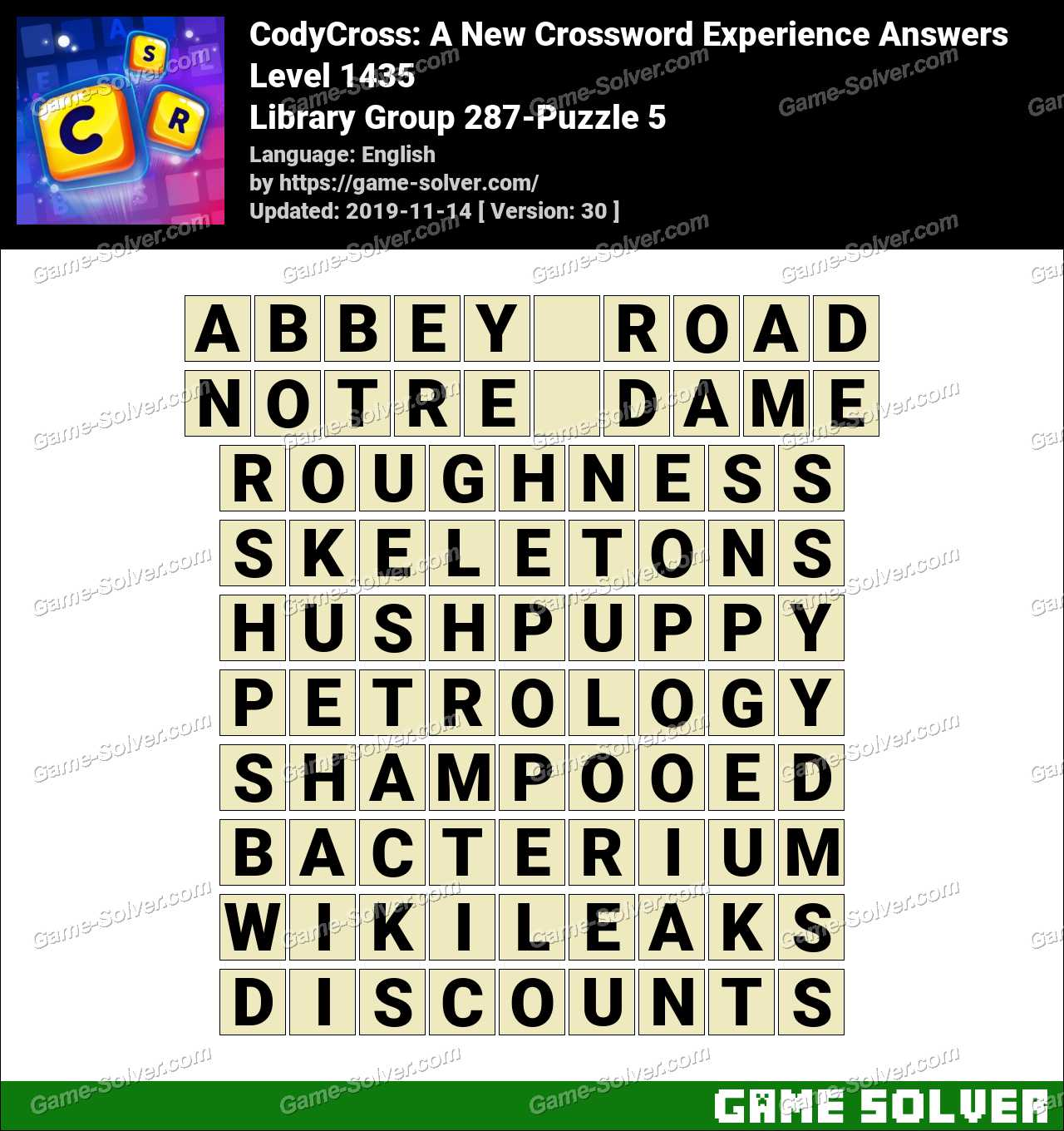 CodyCross Library Group 287-Puzzle 5 Answers
