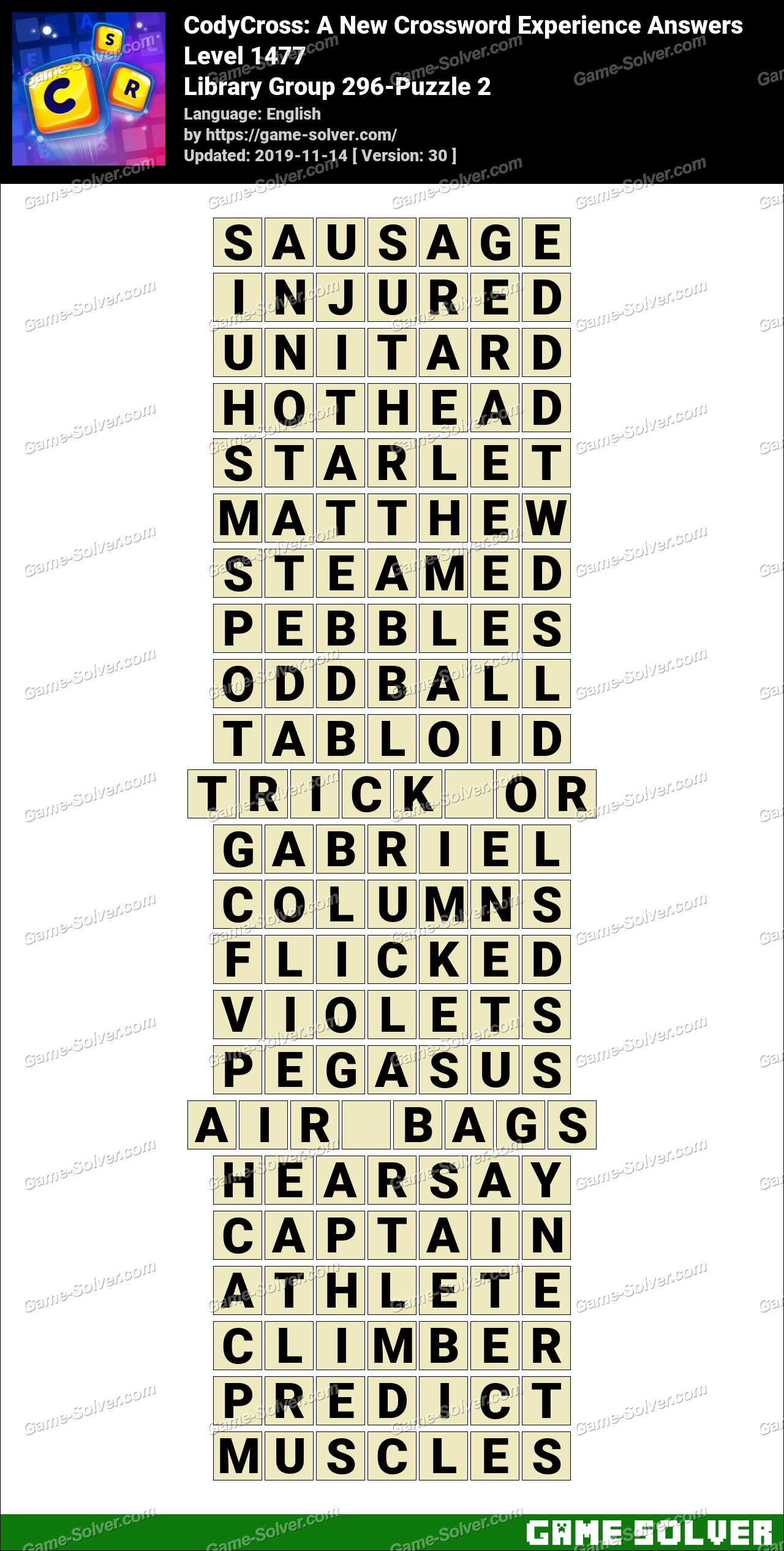 CodyCross Library Group 296-Puzzle 2 Answers