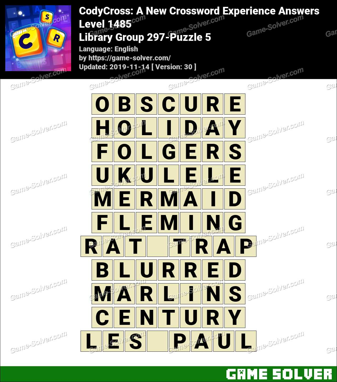 CodyCross Library Group 297-Puzzle 5 Answers