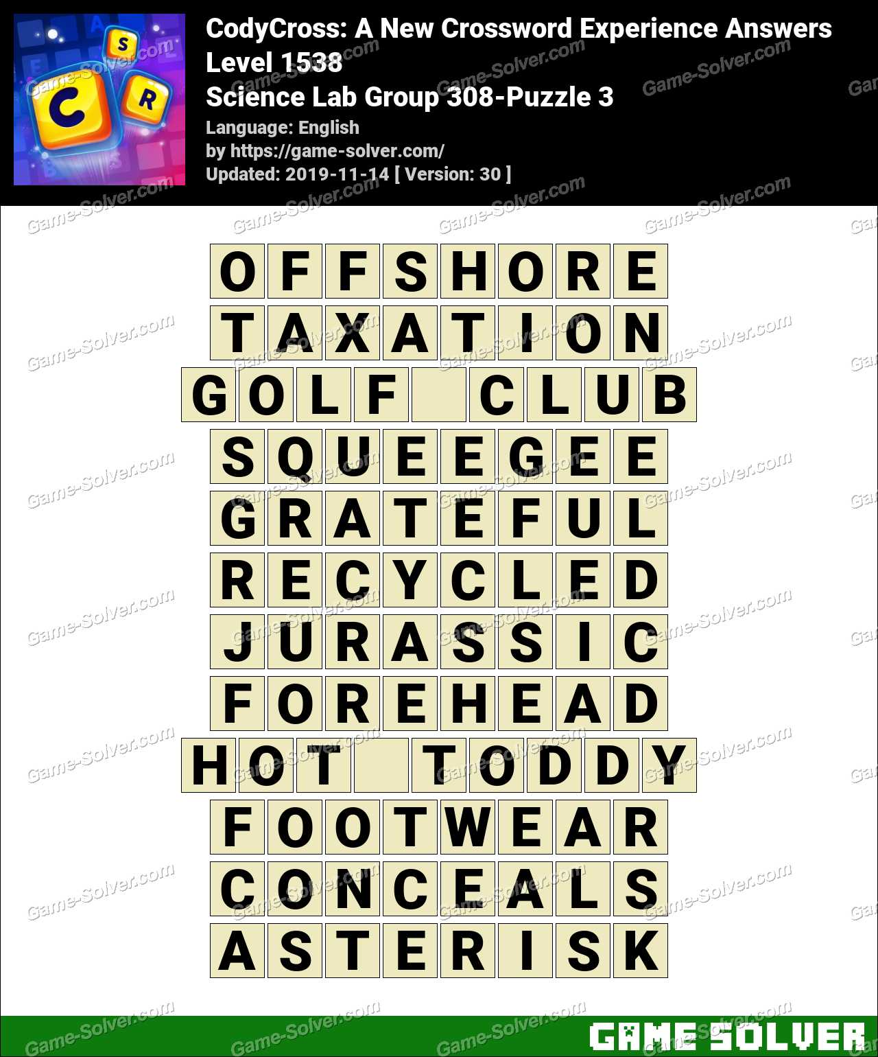 CodyCross Science Lab Group 308-Puzzle 3 Answers