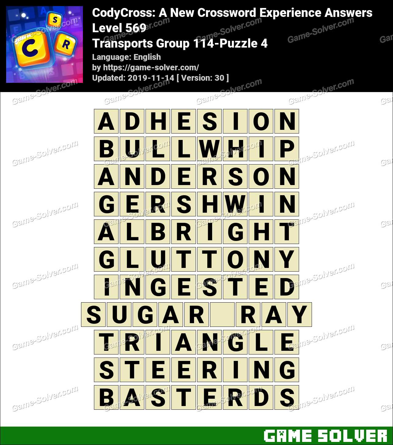 CodyCross Transports Group 114-Puzzle 4 Answers