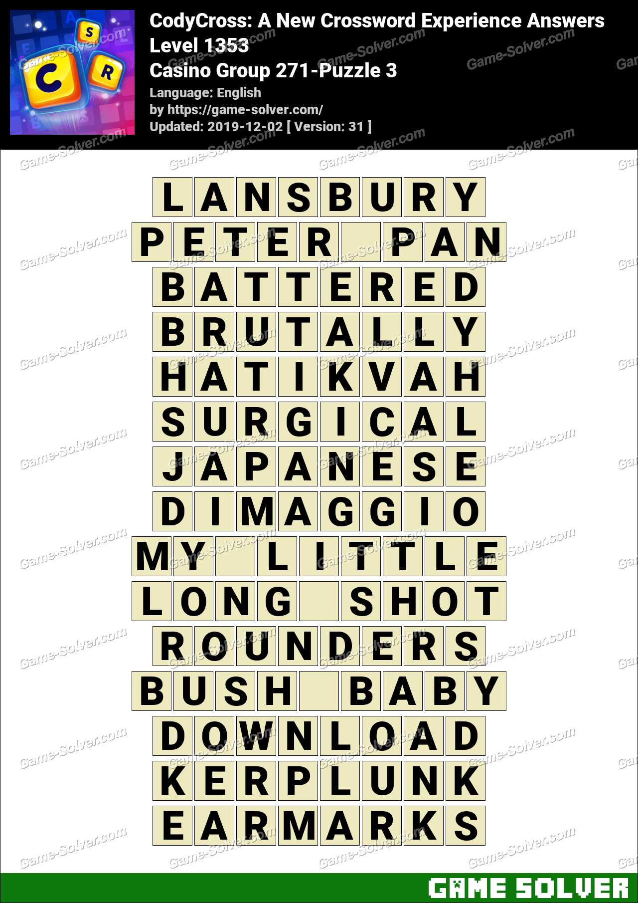 CodyCross Casino Group 271-Puzzle 3 Answers