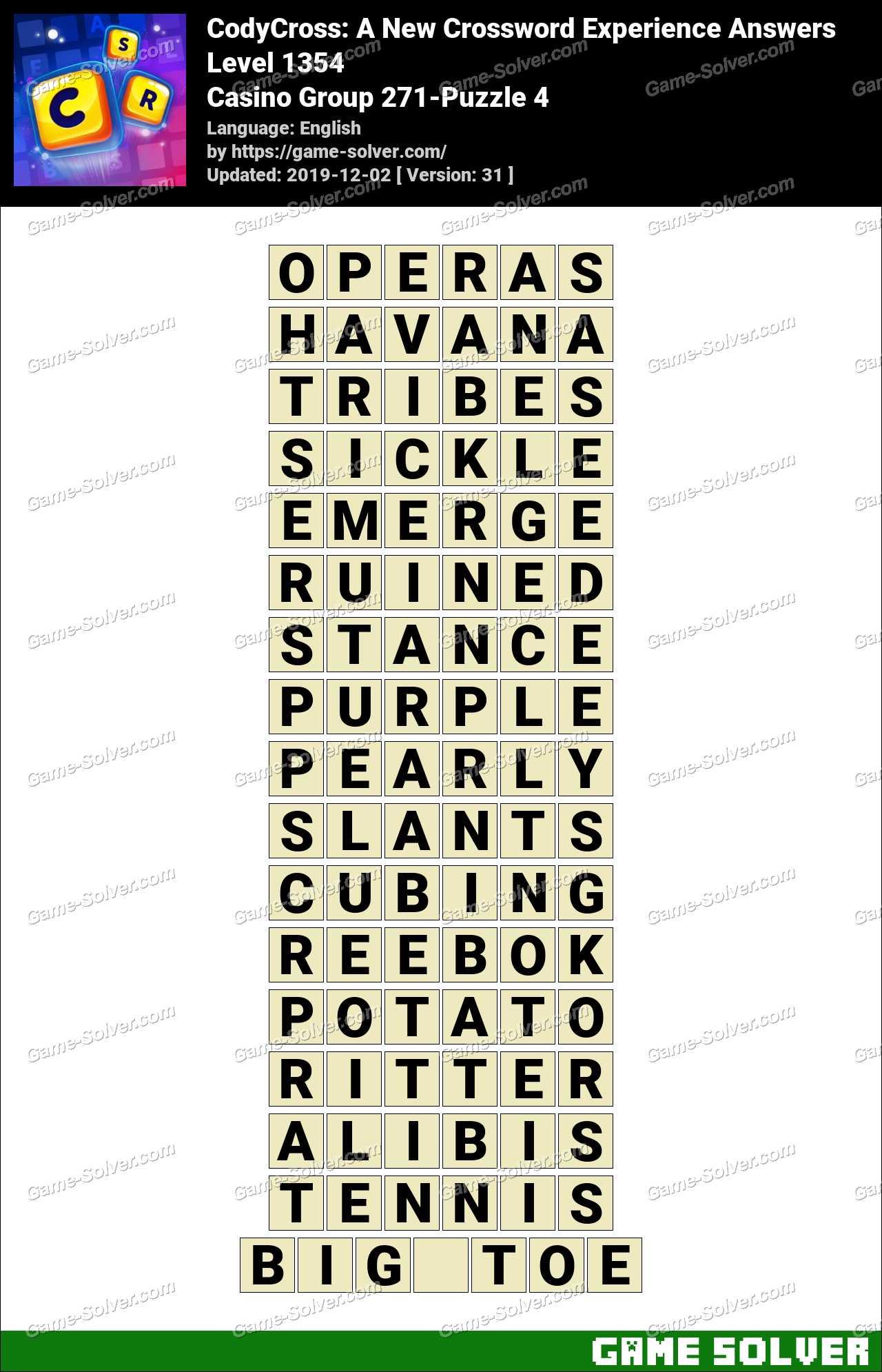 CodyCross Casino Group 271-Puzzle 4 Answers