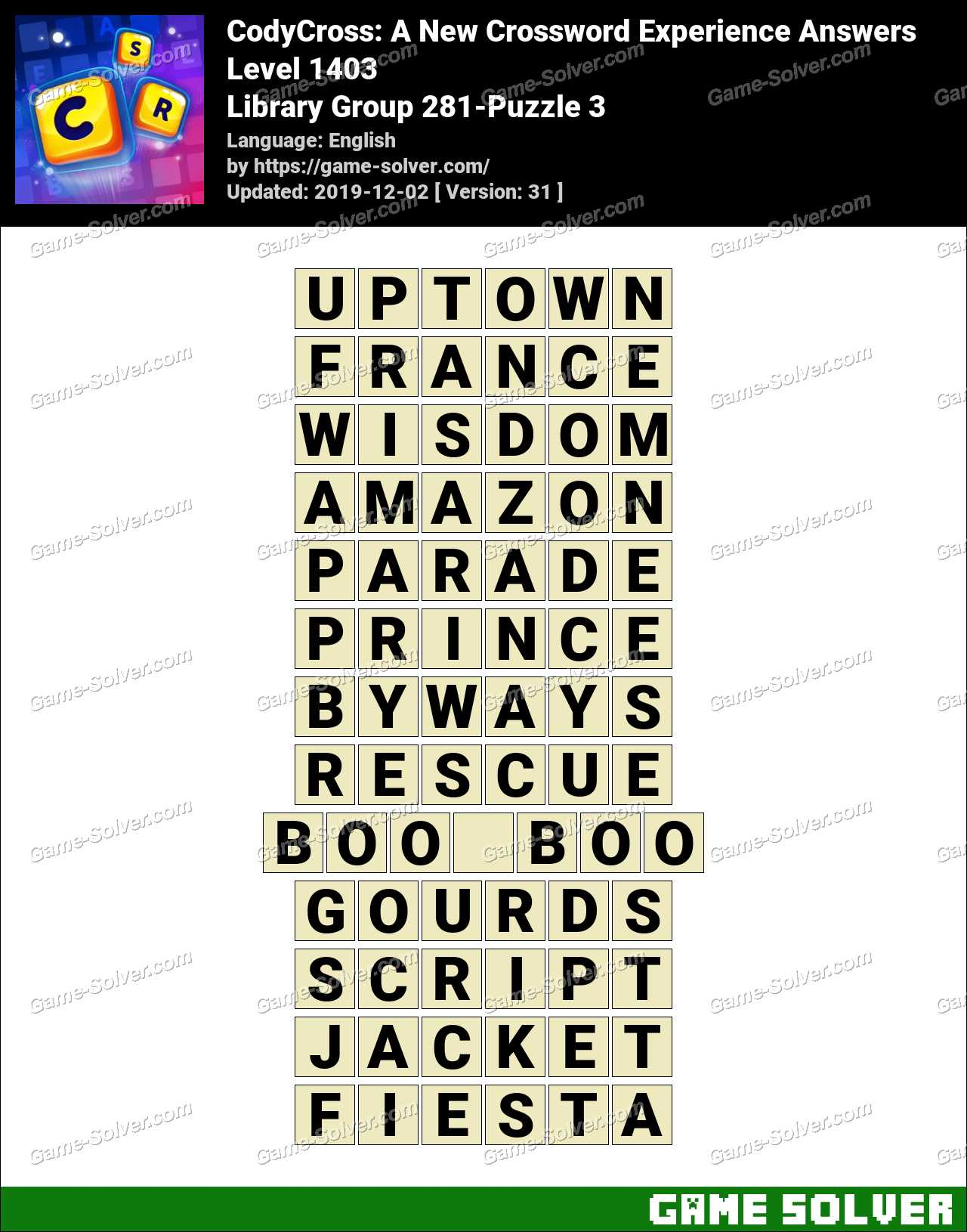 CodyCross Library Group 281-Puzzle 3 Answers
