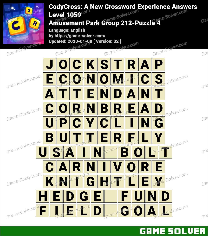 CodyCross Amusement Park Group 212-Puzzle 4 Answers