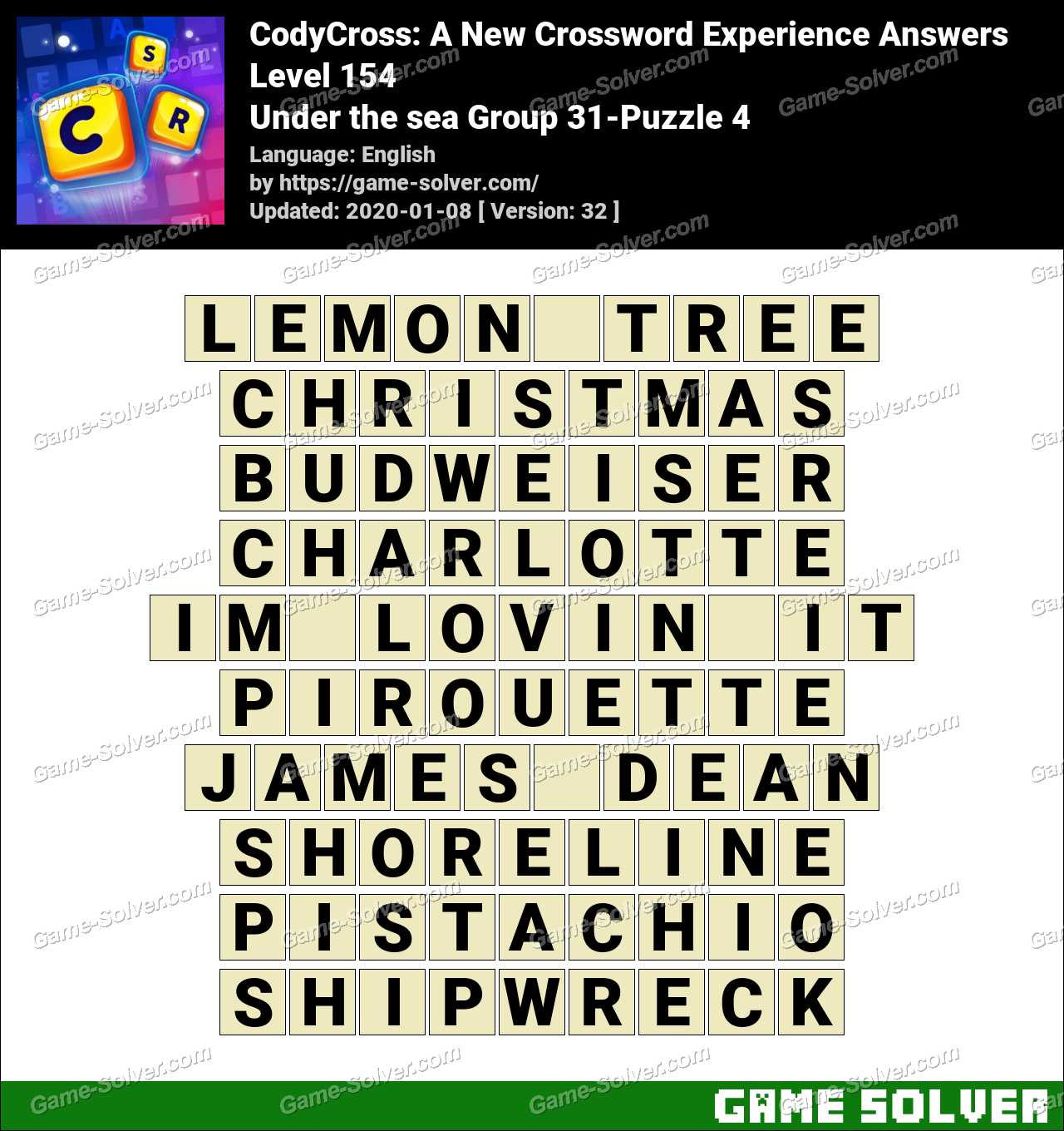 CodyCross Under the sea Group 31-Puzzle 4 Answers